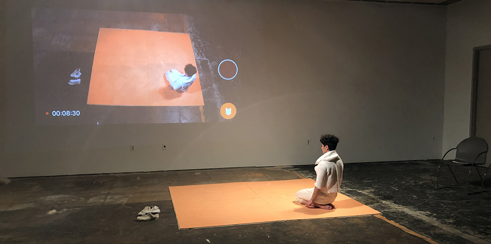 "Artist Linda Ryan during ""The Thaw / Performance"" at the PlySpace Gallery in 2019. Photo provided"