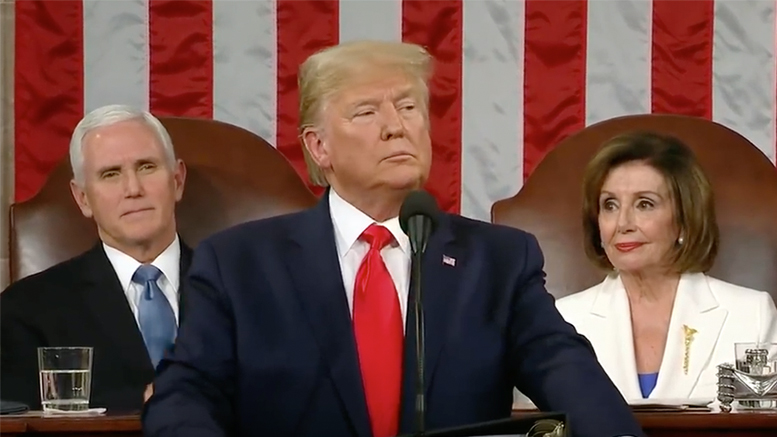 President Trump gives his State Of The Union address on February 4, 2020. Photo: Screenshot from live broadcast