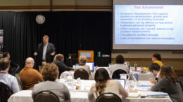 Jim Higgins is pictured during his presentation on local finance. Photo by: Mike Rhodes