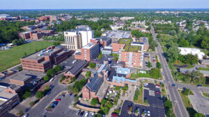 Aerial image of the IU Health Ball Memorial Campus. Photo provided