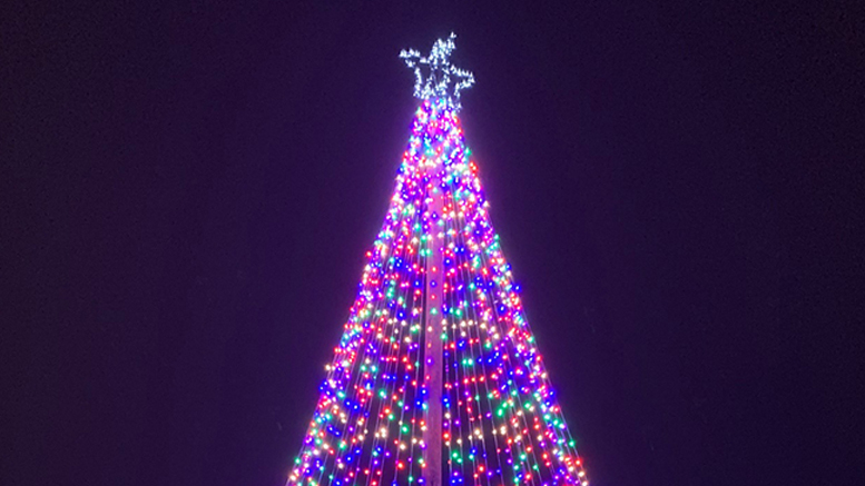 Muncie's tallest Christmas tree has been lit again and will remain lit every night from dusk until dawn as a symbol of community hope and collaboration. Photo provided
