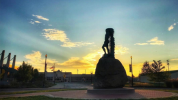 "Downtown Muncie's iconic sculpture, ""Passing of the Buffalo"" standing tall at dawn. Photo by: Matt Howell, Farmhouse Creative"