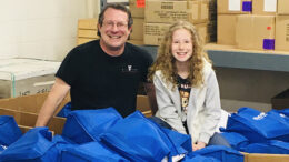 BSU Professor Darren Wheeler and EWA student Amy Wheeler provided COVID-19 relief as Back To School Teachers Store volunteers preparing 3,000 Remote Learning Supply Kits to all MCS elementary families for the May 4th distribution. Photo by: Stacy Wheeler.