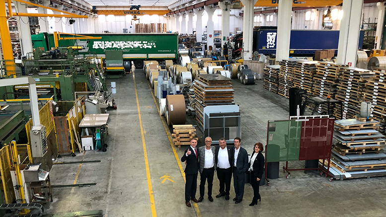 Pictured L-R: Brad Bookout, Maurizio Tamborin, James King, Bill Walters, and Sabrina Riccardi are pictured inside an INOX facility in Italy. Photo provided
