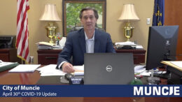 Mayor Ridenour is pictured giving one of his daily video briefings. Screenshot of video stream by Endpoint Creative.