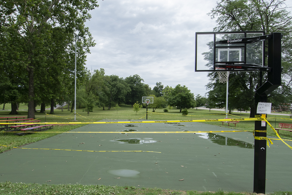 The basketball court surface at McCullogh park has recently been repaired