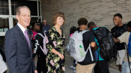 Geoffrey S. Mearns and Lee Ann Kwiatkowski greet students on the first day of school last year at Northside Middle School. Photo by: Mike Rhodes