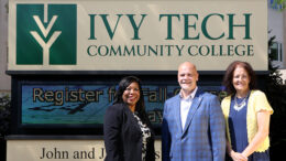 Pictured L-R: Alisa Wells, Ivy Tech's Director of Community Engagement and Wraparound Support, Chancellor Jeffrey Scott, and Jeannie Hamblin-Fox, Site Director Henry County Campus.