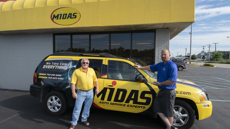 Pictured L-R: Jack Surface and Mike Hylton outside of the Midas Shop on Broadway in Muncie. Photo by: Mike Rhodes