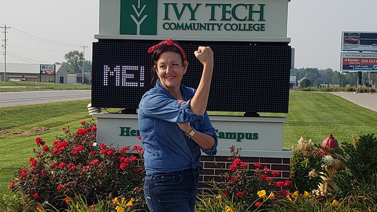 "Jeannie Hamblin Fox, co-chair for 2020 fundraising campaign for United Way of Delaware, Henry and Randolph Counties, poses as ""Rosie the Riveter."" Fox is site director for the Ivy Tech Henry County campus."