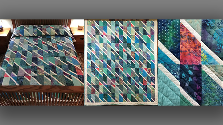 This quilt titled Rainfall is being raffled off by the quilting circle at UU Church of Muncie. Photo provided
