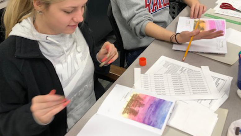 Students in Mrs. Barbara Miller's Yorktown High School English 11 Honors class create Americana-themed journals to enhance their understanding of American literature. A $449 Robert P. Bell Grant, awarded in November 2019, supported the cost of supplies for students to create their journals.