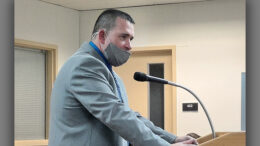 Ray Dudley speaks at the MCS board meeting on December 8th. Photo by Andy Klotz