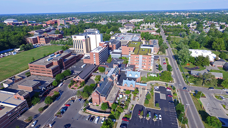 Aerial image of the IU Health Ball Memorial Hospital campus. Photo provided